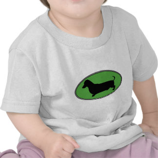 Dachshund Oval Green-Plain Tee Shirts