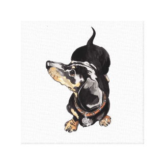 dachshund painting on stretched canvas print