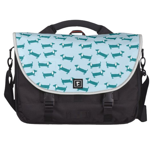 Dachshund pattern in blue combination bag for laptop
