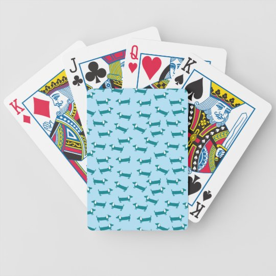 Dachshund pattern in blue combination bicycle playing cards