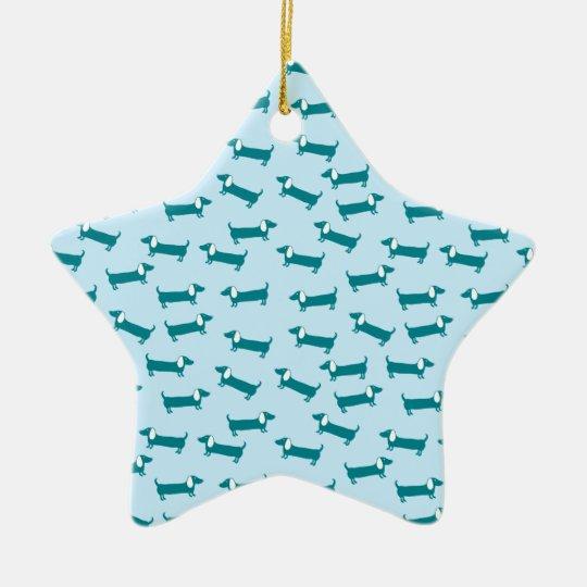 Dachshund pattern in blue combination ceramic ornament