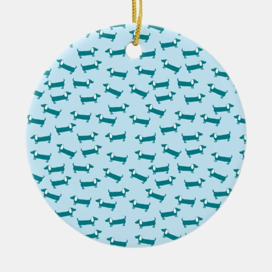 Dachshund pattern in blue combination ceramic ornament
