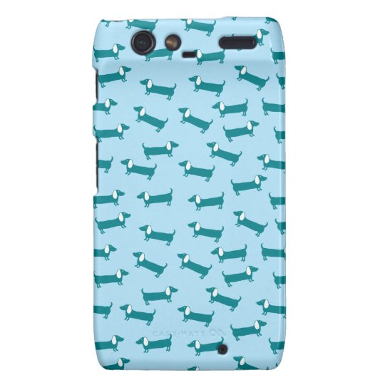 Dachshund pattern in blue combination droid RAZR cover