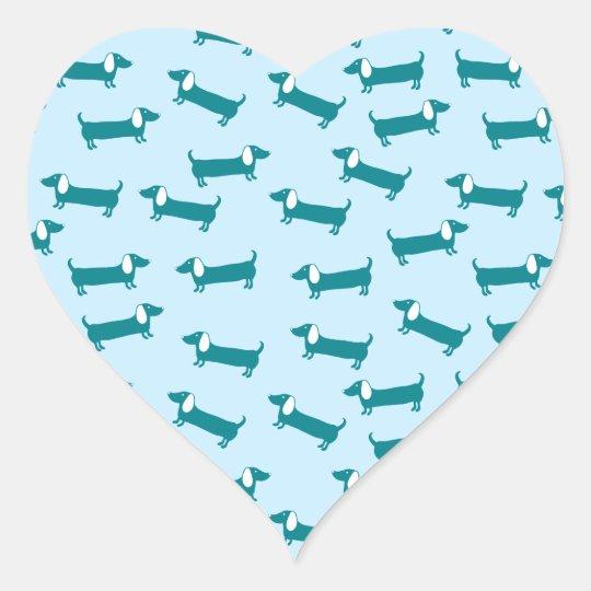 Dachshund pattern in blue combination heart sticker