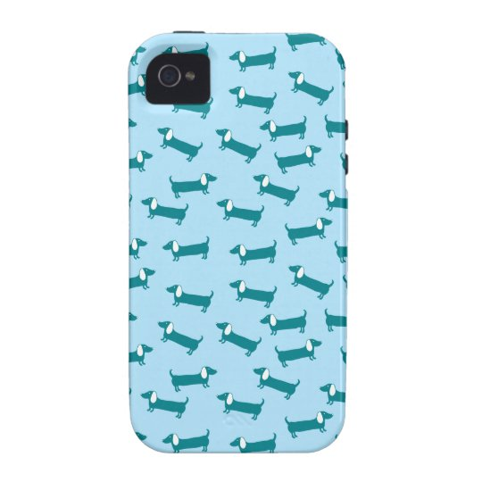 Dachshund pattern in blue combination iPhone 4 covers