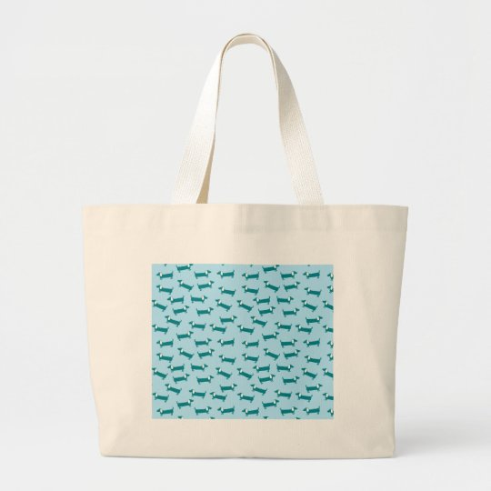 Dachshund pattern in blue combination large tote bag