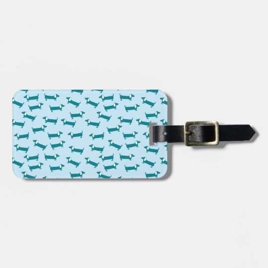 Dachshund pattern in blue combination luggage tag