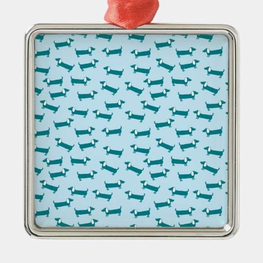 Dachshund pattern in blue combination metal ornament