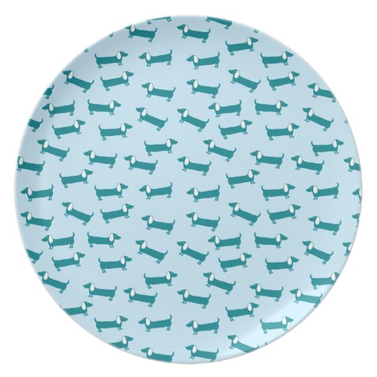 Dachshund pattern in blue combination plate