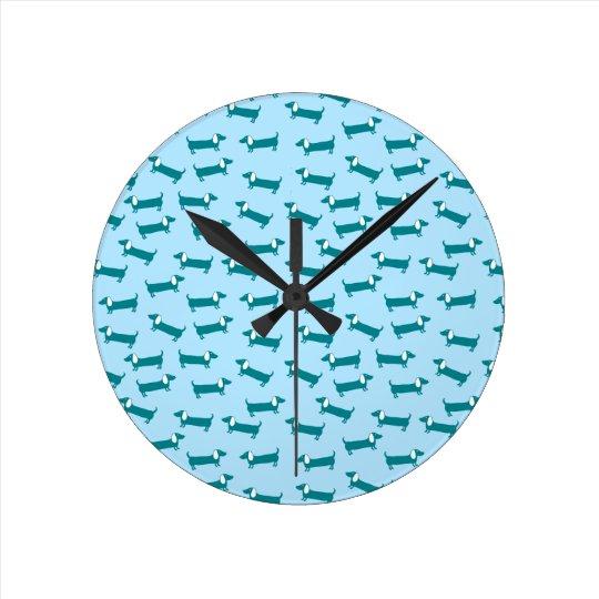 Dachshund pattern in blue combination round clock