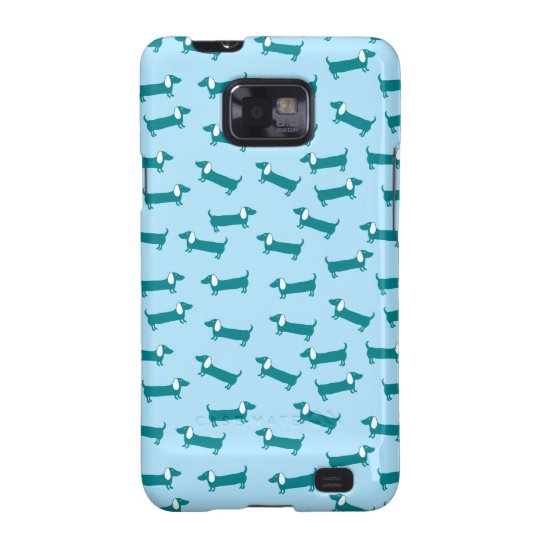 Dachshund pattern in blue combination samsung galaxy s2 cases