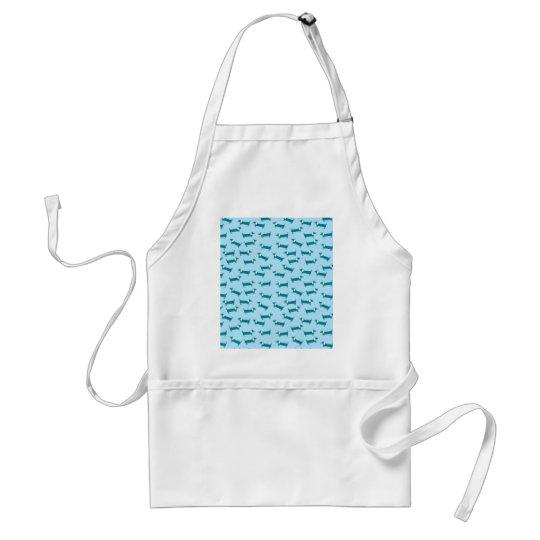 Dachshund pattern in blue combination standard apron