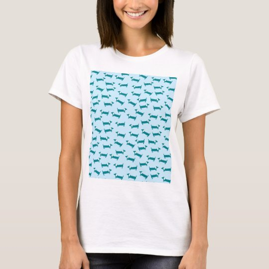 Dachshund pattern in blue combination T-Shirt
