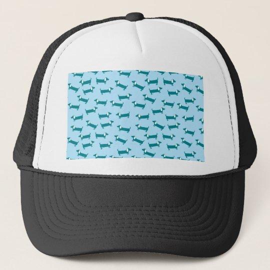 Dachshund pattern in blue combination trucker hat