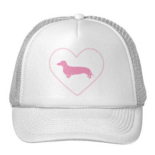 Dachshund Pink Heart Design Mesh Hats
