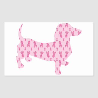 Dachshund Pink Ribbon for Cancer Rectangle Sticker