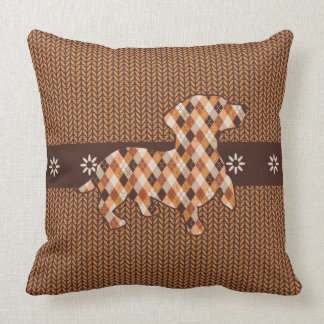 Dachshund Plaid and Faux Knit Look Throw Pillow