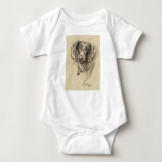 Dachshund portrait baby bodysuit