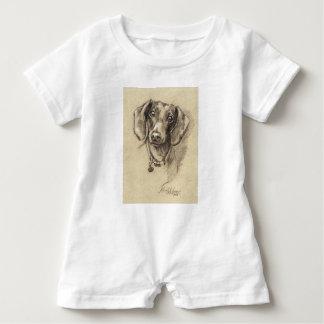 Dachshund portrait baby romper