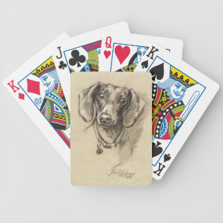Dachshund portrait bicycle playing cards
