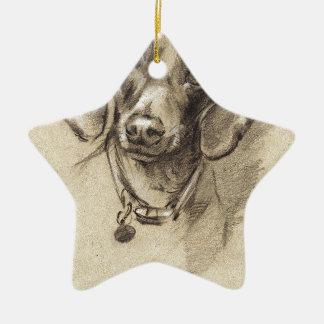Dachshund portrait ceramic ornament