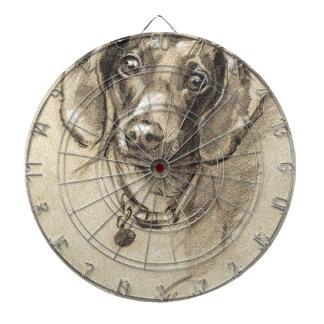 Dachshund portrait dartboard