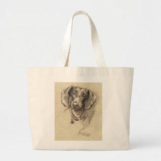 Dachshund portrait large tote bag