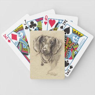 Dachshund portrait poker deck