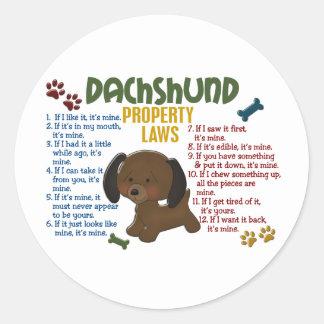 Dachshund Property Laws 4 Round Sticker