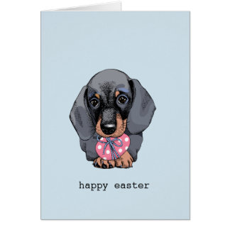 Dachshund puppy Easter card