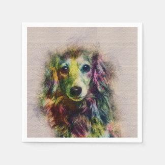Dachshund Puppy Sketch Paint Paper Napkin