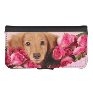 Dachshund Puppy Surrounded by Roses Phone Wallets