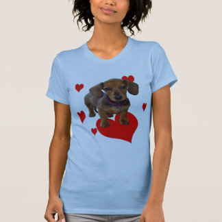 DACHSHUND Puppy with Hearts Front Printing T-Shirt
