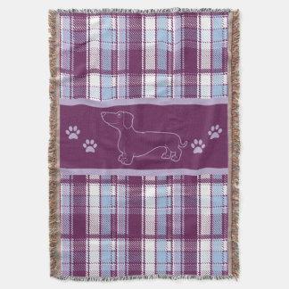 Dachshund Purple Plaid Throw Blanket