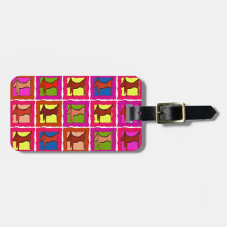 Dachshund Quilt Tiled Dogs edit name Luggage Tag