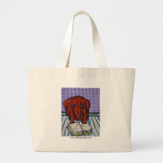 Dachshund Reading a Book Large Tote Bag