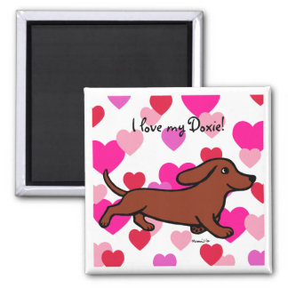 Dachshund Running Cartoon Magnet