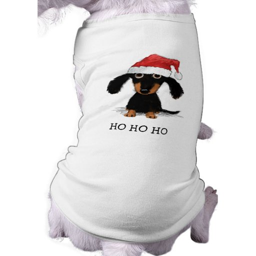 Dachshund santa clause funny christmas dog doggie t for Dog t shirt for after surgery