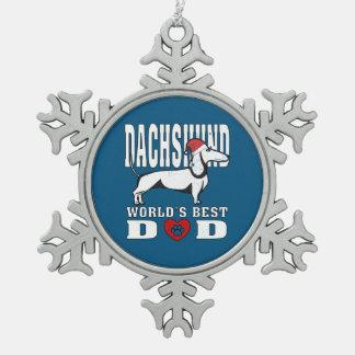 Dachshund Santa Hat World's Best Dad Snowflake Pewter Christmas Ornament