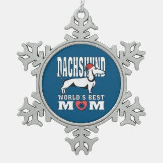 Dachshund Santa Hat World's Best Mom Snowflake Pewter Christmas Ornament