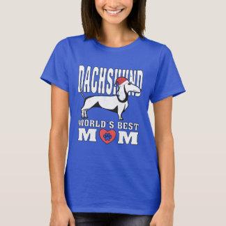 Dachshund Santa Hat World's Best Mom T-Shirt
