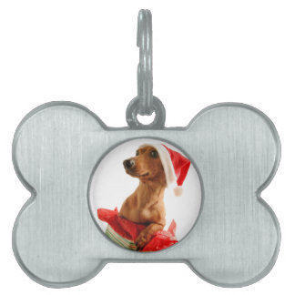 Dachshund santa - santa dog - dog gifts pet ID tag