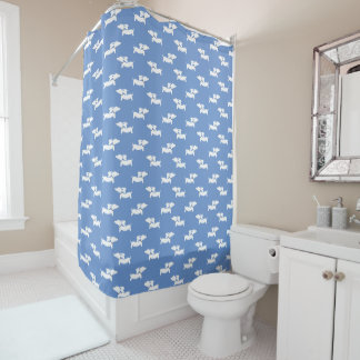 Dachshund Shower Curtain Blue
