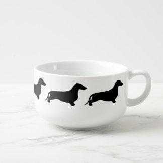 Dachshund silhouette black + your ideas soup mug