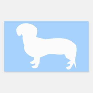 Dachshund Silhouette Blue Rectangular Stickers