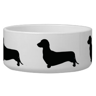 Dachshund Silhouette Dog Food Bowl