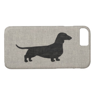 Dachshund Silhouette Faux Linen Style iPhone 8/7 Case