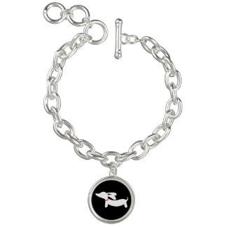 Dachshund Silhouette on Black with Pink Collar Charm Bracelet