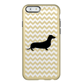 Dachshund Silhouette on White Chevron Incipio Feather® Shine iPhone 6 Case