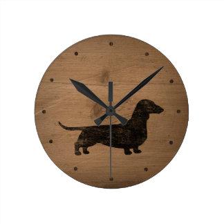 Dachshund Silhouette Rustic Style Round Clock